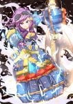 1girl axe blue_eyes goggles league_of_legends mushiboy pink_hair pixiv_manga_sample shoulder_pads smirk vi_(league_of_legends) weapon