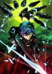 1boy arisato_minato armband atlus blue_eyes blue_hair flying full_moon glowing glowing_eyes hair_over_one_eye megami_tensei moon official_art persona persona_3 school_uniform shin_megami_tensei short_hair sky sword thanatos thanatos_(megami_tensei) weapon yuuki_makoto