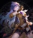 1girl absurdres alternate_costume black_hair blue_eyes brown_gloves brown_jacket daylightallure detective english_text fighting_stance fu_hua fu_hua_(valkyrie_accipter) gears gloves highres honkai_(series) honkai_impact_3rd huge_filesize jacket long_hair long_sleeves looking_at_viewer open_mouth ponytail pose shorts solo teeth