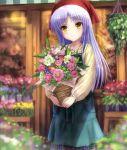 1girl angel_beats! apron bandanna bouquet cropped florist flower flower_shop goto_p highres long_hair shop silver_hair solo tenshi_(angel_beats!) yellow_eyes