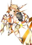 1girl blonde_hair breasts clenched_hands from_above gauntlets highres looking_at_viewer minamon_(vittel221) senki_zesshou_symphogear short_hair simple_background smile solo tachibana_hibiki_(symphogear) white_background yellow_eyes