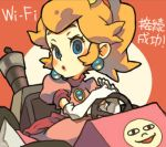 1girl aqua_eyes blonde_hair crown dress earrings elbow_gloves gloves jewelry kart lowres mario_(series) mario_kart mario_paint nintendo ponytail princess_peach sitting solo super_mario_bros.