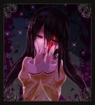 1girl akemi_homura akuma_homura black_hair blood blood_on_face earrings heart heart-shaped_pupils jewelry long_hair magical_girl mahou_shoujo_madoka_magica mahou_shoujo_madoka_magica_movie ring solo soul_gem spoilers symbol-shaped_pupils yandere_trance yu_tin