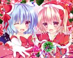 2girls bat_wings blonde_hair blue_hair blush bow capelet dress fang flandre_scarlet hair_bow hat looking_at_viewer multiple_girls open_mouth pink_eyes red_dress remilia_scarlet rika-tan_(rikatantan) santa_costume santa_hat siblings side_ponytail sisters smile touhou white_background white_dress wings wink