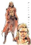 1boy abs blonde_hair boots character_name coat dog_tags face gloves liquid_snake male metal_gear_(series) metal_gear_solid mullet official_art open_clothes open_coat shinkawa_youji trench_coat