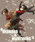 2girls batman_(series) black_hair blue_eyes character_name dc_comics dick_grayson family female fermium.ice genderswap highres jason_todd mask multiple_girls nightwing red_hood red_hood_(dc) siblings