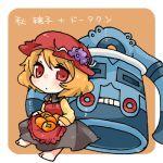 1girl aki_minoriko bronzong character_name chibi food fruit grapes hat looking_at_viewer lowres pokemon short_hair simple_background skirt_basket takamura touhou