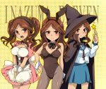 >:( 1girl :o animal_ears asahina_mikuru asahina_mikuru_(cosplay) blush breasts brown_eyes brown_hair bunnysuit cardigan cleavage cosplay detached_collar detached_sleeves dress hat inazuma_eleven inazuma_eleven_(series) inazuma_eleven_go large_breasts level-5 long_hair marimo_danshaku multiple_persona nagato_yuki nagato_yuki_(cosplay) pantyhose rabbit_ears raimon_natsumi school_uniform suzumiya_haruhi suzumiya_haruhi_(cosplay) suzumiya_haruhi_no_yuuutsu tears twintails witch_hat