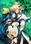 arm_hug asymmetrical_wings bangs belt black_panties breasts choker closed_eyes couple curre detached_sleeves dizzy_(guilty_gear) forest grass guilty_gear guilty_gear_xrd hair_ribbon hair_rings hug husband_and_wife ky_kiske large_breasts leaf nature panties ponytail red_eyes ribbon thigh_strap twintails underwear wings yellow_ribbon