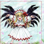 1girl blonde_hair fang female hat lily_white nanashii_(soregasisan) outstretched_arms smile solo spread_arms touhou wings yellow_eyes