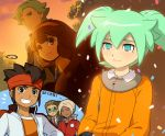 1girl 5boys asurei_rune brown_eyes brown_hair closed_eyes endou_mamoru fei_rune goggles gouenji_shuuya green_eyes green_hair grin hairband inazuma_eleven_(series) inazuma_eleven_go inazuma_eleven_go_chrono_stone kidou_yuuto long_hair mizuhara_aki multiple_boys nanobana_kinako older smile