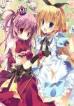 2girls :d alice_(wonderland) alice_in_wonderland apron bad_id black_ribbon blonde_hair blue_dress blue_eyes blush breasts card dress flower gloves hair_ribbon heart highres kisaragi_kiriha looking_at_viewer multiple_girls open_mouth playing_card puffy_short_sleeves puffy_sleeves purple_hair queen_of_hearts red_dress ribbon rose scepter short_sleeves side_ponytail smile tareme violet_eyes waist_apron