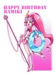 1girl :d blush boots bow brooch cure_blossom earrings goggles hair_bow hanasaki_tsubomi happy_birthday heartcatch_precure! innertube jewelry knee_boots long_hair maboroshineko magical_girl open_mouth pink pink_bow pink_eyes pink_hair polearm ponytail precure puffy_sleeves ribbon skirt smile snorkel solo standing_on_one_leg trident weapon white_background wrist_cuffs