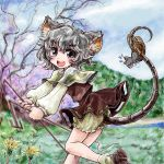 1girl animal_ears basket black_eyes dowsing_rod female grey_hair mouse mouse_ears mouse_tail nanashii_(soregasisan) nazrin open_mouth skirt tail touhou