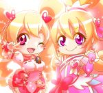 2girls ;d aida_mana blonde_hair blush bow color_connection corset cure_heart cure_peach curly_hair dokidoki!_precure eyelashes fresh_precure! hair_ornament heart heart_hair_ornament long_hair look-alike magical_girl momozono_love multiple_girls one_eye_closed open_mouth pink_bow pink_eyes precure ribbon smile tochiringo twintails v wink