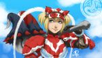 1girl axe blonde_hair blue_eyes blue_sky capcom daniel_macgregor gloves helmet hermitaur_(armor) highres huge_weapon lips monster_hunter over_shoulder pauldrons short_hair short_twintails sky smile solo twintails vambraces weapon weapon_over_shoulder