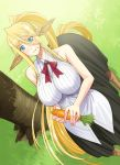 1girl :t animal_ears bare_shoulders blonde_hair blue_eyes blush breasts carrot centaur centorea_shianus dutch_angle eating food food_on_face from_above horse_ears huge_breasts inui_takemaru long_hair looking_at_viewer monster_girl monster_musume_no_iru_nichijou okayado pointy_ears ponytail skirt solo tail very_long_hair