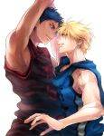 2boys aomine_daiki bad_id basketball basketball_uniform blonde_hair blue_eyes blue_hair dark_skin earrings jewelry jumping kise_ryouta kuroko_no_basuke male_focus multiple_boys red_eyes sport sportswear sweat yaoi yubikitasu2
