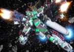 asteroid dual_wielding full_armor_unicorn_gundam gatling_gun glowing gun gundam gundam_unicorn mecha multishot_rocket_launcher no_humans nt-d robographer rocket_launcher solo space sparks unicorn_gundam weapon