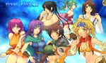 00s 6+girls ass bare_shoulders bikini_top black_hair blonde_hair braid breasts brown_hair bursting_breasts cape cleavage crop_top crossover detached_sleeves everyone faris_scherwiz final_fantasy final_fantasy_v final_fantasy_vi final_fantasy_vii final_fantasy_x final_fantasy_x-2 fingerless_gloves front-tie_top gloves hand_on_hip headband heterochromia huge_breasts large_breasts legs lenna_charlotte_tycoon looking_back lulu_(ff10) lulu_(final_fantasy) midriff multiple_girls navel no_legwear one_eye_closed orange_shirt orange_skirt panties pantyshot pink_hair pink_panties rikku shiny shiny_skin shirt short_hair skirt square_enix staff string_panties taut_clothes taut_shirt thighs tina_branford underwear upskirt wink yoko_juusuke yuffie_kisaragi yuna yuna_(ff10)