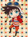 1boy aviator_cap aviator_goggles aviator_hat blue_eyes blush brown_hair chibi danemaru goggles goggles_on_head hat jacket jojo_no_kimyou_na_bouken joseph_joestar_(young) male_focus pointing polka_dot polka_dot_background red_jacket shirt solo striped striped_shirt variaaaaa