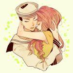 1boy 1girl bad_id black_hair couple dixie_cup_hat eyeshadow hat hetero higashikata_jousuke_(jojolion) hirose_yasuho hug jojo_no_kimyou_na_bouken jojolion lipstick makeup masc_(68mb) military_hat pink_hair