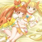 2girls blonde_hair boots bow brown_eyes brown_hair choker color_connection cure_rosetta cure_sunshine dokidoki!_precure double_bun heartcatch_precure! hug knee_boots long_hair lying magical_girl midriff multiple_girls myoudouin_itsuki navel orange_bow precure puffy_sleeves smile tamago_kago twintails wrist_cuffs yellow yellow_bow yellow_eyes yotsuba_alice