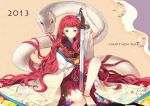 10s 1girl 2013 anklet bandage bandaged_arm barefoot chinese_clothes green_eyes hanfu jewelry juuni_kokuki long_hair nakajima_youko redhead sheska_xue sitting snake sword very_long_hair weapon white_snake