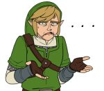 ... 1boy chainmail eyebrows fingerless_gloves gloves hat light_brown_hair link lowres male_focus nintendo pointy_ears sarky solo sweatdrop the_legend_of_zelda thick_eyebrows tunic vambraces