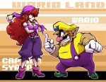 1boy 1girl bandanna bare_shoulders breasts captain_syrup character_name clenched_teeth copyright_name earrings eye_contact fat fat_man gloves height_difference high_heels jewelry large_breasts lips long_hair looking_at_another mario_(series) middle_finger necklace nintendo nitorou pointy_ears red_eyes redhead shoes smile standing super_mario_bros. teeth wario wario_land