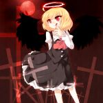 1girl arm_behind_back black_wings blonde_hair blood cross dress ex-rumia female finger_licking halo highres koza kozakura_(dictionary) licking necktie red_eyes rumia short_hair smile solo tongue touhou wings
