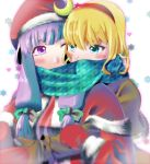 2girls alice_margatroid blonde_hair blue_eyes blush bow capelet cheek-to-cheek crescent female hair_bow hairband hat hug hug_from_behind jii_baa long_hair mittens multiple_girls one_eye_closed patchouli_knowledge purple_hair santa_costume santa_hat scarf shared_scarf sidelocks touhou violet_eyes wink winter_clothes yagasuri yuri