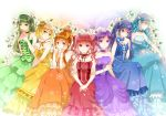 6+girls aqua_dress aqua_eyes aqua_hair blonde_hair blue_dress blue_eyes blue_hair choker crown dress flower green_dress green_eyes green_hair hair_bun hair_ribbon hat headdress long_hair mini-top_hat mini_hat mini_top_hat multiple_girls nekozuki_yuki orange_dress orange_eyes orange_hair original purple_dress purple_hair rainbow rainbow_order red_dress red_eyes redhead ribbon short_hair smile strapless strapless_dress top_hat twintails violet_eyes yellow_dress yellow_eyes