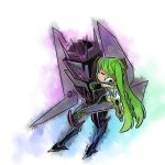 1girl blush chibi closed_mouth crossover hatsune_miku helmet hug kiss long_hair machinery rkp simple_background size_difference soundwave transformers transformers_prime very_long_hair vocaloid white_background