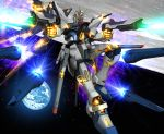 00s earth energy_beam funnels glowing glowing_eyes gundam gundam_seed gundam_seed_destiny hiropon_(tasogare_no_puu) mecha no_humans solo space strike_freedom_gundam yellow_eyes