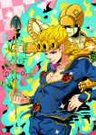 2boys arrow blonde_hair blue_eyes giorno_giovanna gold_experience highres jojo_no_kimyou_na_bouken ladybug male_focus multiple_boys stand_(jojo) tonegawa_ribu vines