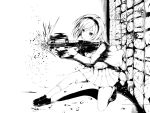 00s 1girl blazer bullpup dekochin_hammer firing gun gunslinger_girl hairband henrietta loafers monochrome p90 rifle shell_casing shoes short_hair skirt solo squatting submachine_gun weapon