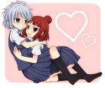 2girls black_legwear heart highres hug kosegawa_shiromi kuromu_(cr0711) multiple_girls open_mouth saki school_uniform smile usuzawa_sae yuri