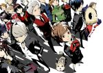 6+boys 6+girls aegis aegis_(persona) amada_ken amagi_yukiko aqua_hair aragaki_shinjirou arisato_minato atlus black_hair blonde_hair blue_hair bow brown_hair digital_media_player dog everyone female_protagonist_(persona_3) foreshortening from_above grey_hair hair_over_one_eye hairband hanamura_yousuke hat headphones iori_junpei kirijou_mitsuru koromaru kujikawa_rise kuma_(persona_4) light_brown_hair long_hair looking_at_viewer looking_up multiple_boys multiple_girls nanaya_(daaijianglin) narukami_yuu persona persona_3 persona_3_portable persona_4 perspective ribbon sanada_akihiko satonaka_chie school_uniform shin_megami_tensei shirogane_naoto short_hair skirt smile takeba_yukari tatsumi_kanji yamagishi_fuuka yuuki_makoto