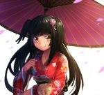 1girl black_hair collarbone erubo hair_ornament japanese_clothes long_hair long_sleeves original petals shiokari_monaka smile solo twintails two_side_up umbrella wide_sleeves yellow_eyes