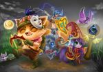 1boy 2girls animal_ears belt bikini_top blue_eyes blush boar boots bow_(weapon) breasts brown_hair cleavage closed_eyes collar fairy flail flask fur gloves goggles goggles_on_head grass green_eyes hat helmet horned_helmet league_of_legends long_hair lulu_(league_of_legends) mask midriff moon multiple_girls mushroom nose_ring pale_skin pix potion purple_hair purple_skin scroll sejuani shield short_hair shorts shoulder_pads signature silver_hair smile spyglass squirrel staff teemo very_long_hair ward weapon witch_hat yordle yummiclaire