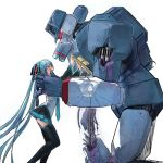 1girl bad_end black_skirt couple crossover crying damaged decepticon dying full_body hatsune_miku headgear long_hair machinery mecha monster pleated_skirt rkp robot science_fiction simple_background size_difference skirt soundwave thigh-highs transformers twintails very_long_hair vocaloid white_background zettai_ryouiki
