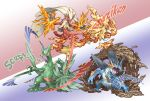 00s blaziken fire highres kicking mud pearl7 pokemon pokemon_(game) pokemon_rse sceptile swampert