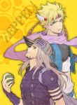 2boys ball battle_tendency beard belt blonde_hair blue_jacket bridal_gauntlets brown_eyes brown_hair caesar_anthonio_zeppeli cropped_jacket danemaru facial_hair facial_mark feathers fingerless_gloves gloves goggles goggles_on_hat goggles_on_head green_eyes grey_hair gyro_zeppeli hair_feathers hat headband jacket jojo_no_kimyou_na_bouken long_hair male_focus multiple_boys ribbon scarf steel_ball_run variaaaaa violet_eyes white_pants yellow_background