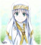 1girl blue_hair green_eyes habit highres index kem_kem long_hair md5_mismatch nun robe safety_pin smile to_aru_majutsu_no_index