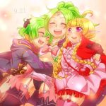 3girls bad_id blonde_hair blush braid dress family fire_emblem fire_emblem:_kakusei garter_belt garter_straps headpiece laughing mark_(fire_emblem) midriff morgan mother_and_daughter multiple_girls nn_(fire_emblem) nono_(fire_emblem) open_mouth pink_legwear pointy_ears ponytail ribbon robe siblings side_braid sisters thigh-highs twin_braids