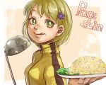 1girl blonde_hair bruce_lee's_jumpsuit flower food food_on_face fried_rice green_eyes hair_flower hair_ornament hairclip huang_baoling ladle licking_lips m-929 short_hair solo tiger_&_bunny tongue tongue_out
