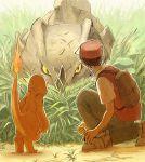 1boy backpack bag baseball_cap charmander fire grass hat pokemon red_(pokemon) rhyhorn yuza