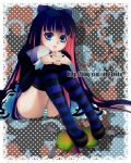 1girl blue_eyes bow cat_yaxi chuck_(psg) doily hair_bow honekoneko_(psg) interlocked_fingers long_hair multicolored_hair nail_polish panties panty_&_stocking_with_garterbelt pantyshot pantyshot_(sitting) polka_dot polka_dot_background sitting stocking_(psg) striped striped_legwear striped_panties stuffed_animal stuffed_cat stuffed_toy thigh-highs two-tone_hair underwear very_long_hair watermark web_address