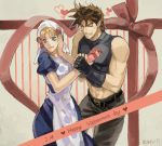 1boy 1girl abs apron bandanna battle_tendency blonde_hair blue_eyes brown_hair couple drawr dress fingerless_gloves gift gloves head_scarf heart hetero husband_and_wife jojo_no_kimyou_na_bouken joseph_joestar_(young) machch midriff polka_dot polka_dot_dress sleeveless smile suzi_q valentine